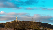 Communication towers and antennas on mountain top at sunset timelapse Stock Footage