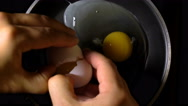 Cooking fried eggs in a frying pan. Close up. Vertical filming. Stock Footage