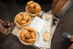 Assortment of a french pastries croissants Stock Photos