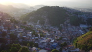 Aerial of the city of Rio de Janeiro from Santa Teresa hills and slums Stock Footage