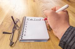 Math notebook with to do list for 2017 Stock Photos