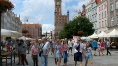 Crowd of people in Gdansk, Poland during St Dominic fair Stock Footage