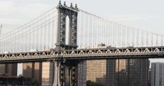 Manhattan Bridge at sunset - NYC - summer 2016 - 4k Stock Footage