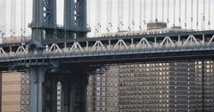 Subway passing over New York's Manhattan Bridge - 4k Stock Footage