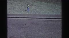 1969: man on the grass, sunset Stock Footage