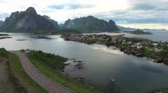 Lofoten archipelago islands Aerial footage Stock Footage