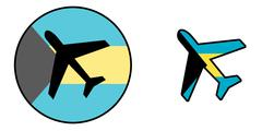 Nation flag - Airplane isolated - Bahamas Stock Illustration