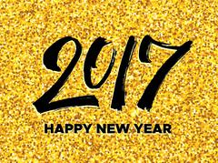 New Year 2017 greeting card with gold glittering Stock Illustration