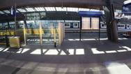 Modern Commuter Train inside the  Railway Station Stock Footage