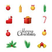 Separate vector Christmas elements on white background Stock Illustration