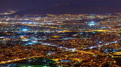 Athens from above,establishing shot,night timelapse post panning Stock Footage