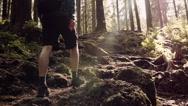 Man hiking steep terrain in slow motion. Mountain scenery Stock Footage