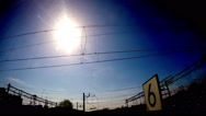 Silhouette of Railway Electric Cables and Wires in Motion Stock Footage