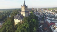 Aerial circling Swanenburg castle in city,Kleve,Germany Stock Footage