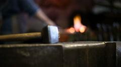 Process of forging hot metal Stock Footage