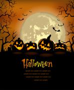 Halloween background with scary pumpkins Stock Illustration