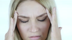 Close Up of  woman Face with headache, Frustration, Tension Stock Footage