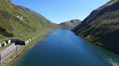 "Aerial flight over beautiful lake near pass ""Oberalp"", Switzerland, 4K, UHD Stock Footage"