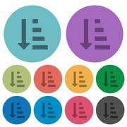 Color ascending ordered list mode flat icons Stock Illustration
