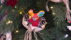 A Delicately Handmade Toy on the Christmas Tree Stock Footage