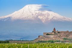 Khor Virap and Mount Ararat Stock Photos