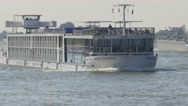 Cruise ship on Waal river,Druten,Netherlands Stock Footage