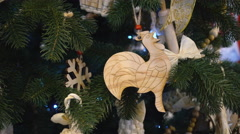 Rooster Christmas Tree Ornaments Stock Footage