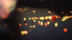 Beautiful floating water lanterns. Romance Stock Footage