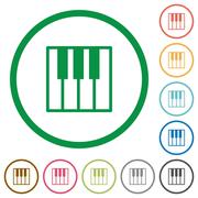 Piano keyboard outlined flat icons Stock Illustration