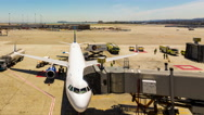 Busy Time-lapse Airport Runway Tarmac Plane Refueling Fire Truck Support Vehicle Stock Footage
