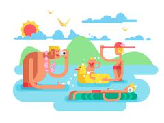 Family on vacation Stock Illustration
