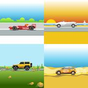 Digital vector red, orange and silver auto car Stock Illustration