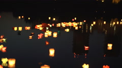 Festival of water lanterns. Water lanterns on the water Stock Footage