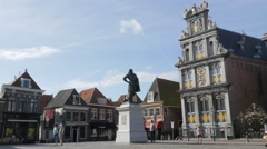 Jan Pieterszoon Coen statue on Roode Steen square,Hoorn,Netherlands Stock Footage