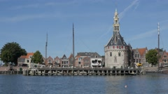 Harbour with Hoofdtoren tower,Hoorn,Netherlands Stock Footage