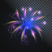 Festive blue firework vector with glowing sparkles Stock Illustration
