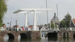 Historical drawbridge in old town,Enkhuizen,Netherlands Stock Footage