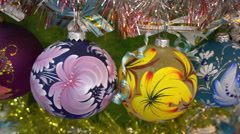 Balls With Colors Swirling on the Christmas Tree Stock Footage
