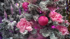 Pink Toy on the Christmas Tree in the Design of Stock Footage