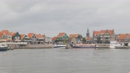 Harbour with traditional houses and church,Volendam,Netherlands Stock Footage