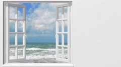 Looking out through the window at the sea in summer Stock Footage
