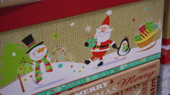 Christmas Picture With Santa, a Snowman, Penguin Stock Footage