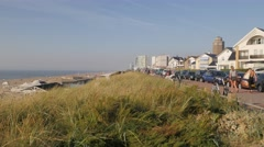 Road along beach and dunes,Zandvoort,Netherlands Stock Footage