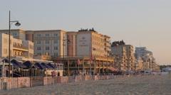 Hotels and restaurants along beach road,Noordwijk aan Zee,Netherlands Stock Footage