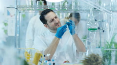 4K Scientific researcher in laboratory analyzing plant & food samples Stock Footage