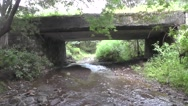 Water Flowing Bellow the Old Bridge in Forest Nature Background Stock Footage