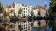 University building along canal,Leiden,Netherlands Stock Footage