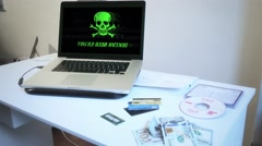 Cyber Crime Scene, Computer Virus Warning Stock Footage