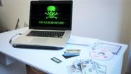 Cyber Crime Scene, Computer Virus Warning Stock Footage