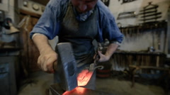 Technology of hand-forged metal Stock Footage